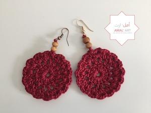 Orecchini - Syrian Flower - Rosso bordeau